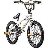 deTox Rude 20 Zoll BMX Fahrrad Bike Freestyle Street Park Rad Anfänger ab 140 cm 4 x Stahl Pegs 360° Rotor (Limited weiß/Gold)