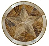 RODEO Texas Star Patch Work Cowhide Rug with linging Diameter 40 in (Pecan)