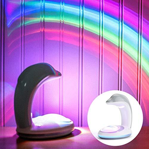 Luz del proyector del patrón de Dophin del Color del Arco Iris - Luz de la Noche del Humor Que Cambia del Color de la luz del Arco Iris alimentada por USB