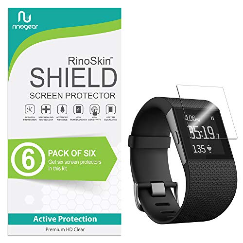 (6-Pack) RinoGear Screen Protector for Fitbit Surge Case Friendly Fitbit Surge Screen Protector Accessory Full Coverage Clear Film