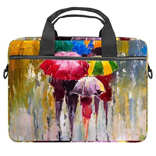 Laptop-Umhängetasche, Messenger-Tasche, Ölfarben, Regenschirm und Gemälde, 38,1 cm (15 Zoll) Computer-Handtasche, Aktentasche für Männer und Frauen