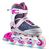 PAPAISON Inline Skates for Boys and Girls with Full Light up Wheels, Beginner Adjustable Illuminating Roller Skates for Kids Youth Women and Men