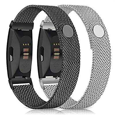 Meliya Metal Loop Bands Compatible with Fitbit Alta/Fitbit Alta HR, Stainless Steel Mesh Megnet Lock Replacement Wristbands for Women Men (Small, Black + Silver)