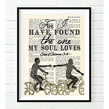 Bible Page- For I have Found the one my Soul Loves Songs of Solomon 3:4 Christian ART PRINT, UNFRAMED, wall decor poster, wedding gift, 8x10 inches