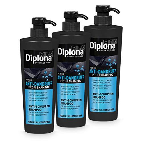 DIPLONA Champú anticaspa para hombres, vegano sin siliconas ni parabenos para cabello sin caspa, cuidado del cabello para hombre, 3 unidades de 600 ml