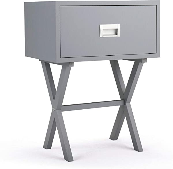 Handybirdy Gray Sleek Bedside Table Drawer Beam X Shaped Base End Side Cupboard