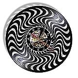 Reloj de pared de vinilo negro y blanco 3D trenzado círculo vintage LP Record reloj de pared ilusión óptica reloj de arte silencioso sin LED