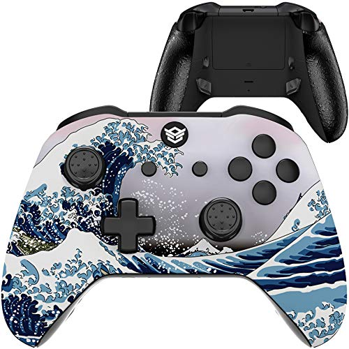HexGaming Esports Pro Blade Controller 2 Mappable Rear Buttons & Triggers Stop & Interchangeable Thumbsticks for Xbox ONE, Xbox Series X/S, PC Wireless FPS Custom Gamer Gamepad - The Great Wave