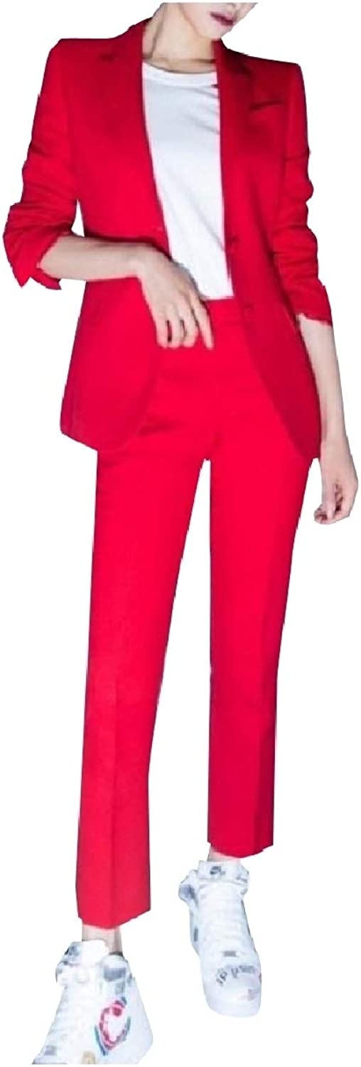 Mfasica Women Dress Relaxed Tenths Pants Blazer 2 Pieces Outfits Suit