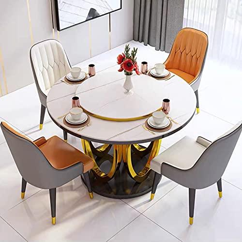 NJHVNG Mesa de Comedor Plegable retráctil multifunción, Mesa de Comedor Ampliable, Mesa Redonda Cuadrada Multifuncional Mesa de Comedor Plegable Simple Moderna,1 Table+4 Chairs