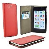 ikracase Handytasche für ZTE Blade L7A Smartphone Tasche Schutzhülle Hülle Kleber Cover Hülle Handy Handyhülle in Rot