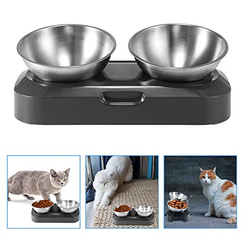 Amecty Double Dog Cat Bowls with Raised Stand, Stainless Steel Cat Food and Water Bowl, 15° Tilted Transparent Pet Feeding Bowl, Detachable Cute Cat Face Double Bowl for Cats and Dogs