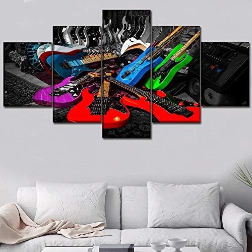 BHJIO 5 Piezas Cuadros Modernos Impresión De Imagen Artística Digitalizada Lienzo Decorativo para Tu Salón O Dormitorio Guitarras De Colores Regalo 150 X 80 Cm.