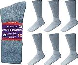 Diabetic Crew Socks Comfort Doctor Approved Non-Binding Circulatory Cotton Cushion Diabetic Socks For Men's Women's 6-Pairs Socks Size 10-13