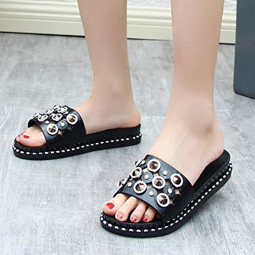 MMWW Zapatillas de Ducha Transpirables,Zapatillas de tacón de Pendiente de Moda para Mujer, Sandalias de Plataforma con Plataforma de Uso Exterior-Taladro Negro_39,Zapatillas Interior Piso