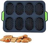 Plateau deCuisson Mini Baguette en Silicone, Moule Perforé Antiadhésif, Sans BPA, Moules à Pain pour Hot-dog, Moules à Hamburger, Moule à Muffins, Ustensiles de Cuisine (S, gris Marine)