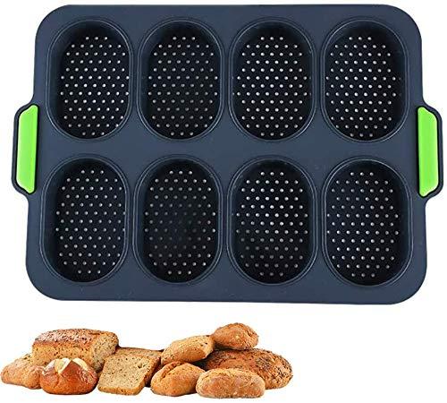 Silikon Mini Baguette Backblech, Antihaft-perforierte Pfanne, BPA frei, Hot Dog Brot Formen, Hamburger Formen, Muffin Pfanne Küche Backen Werkzeuge (S, Navy-Grau)