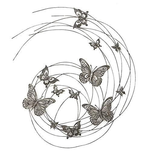 Boltze Wand Objekt Eisen Bild Schmetterling Muster Dekoration Behang geschwungen Silber 4463800