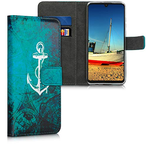 kwmobile Hülle kompatibel mit Huawei P30 Lite - Kunstleder Wallet Hülle mit Kartenfächern Stand Anker Landkarte Weiß Blau