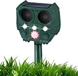 GOTSEVEN Ultrasonic Dog Chaser, Animal Deterrent with Motion Sensor and Flashing Lights Outdoor Solar Farm Garden Yard Repellent, Dogs, Cats, Birds
