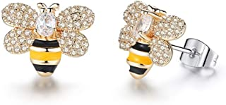 AILUOR Cristal esmaltado chapado en oro Honey Bee Bumble Stud Pendientes Cute Little Honeybee Animal Dangle Drop Earrings ...