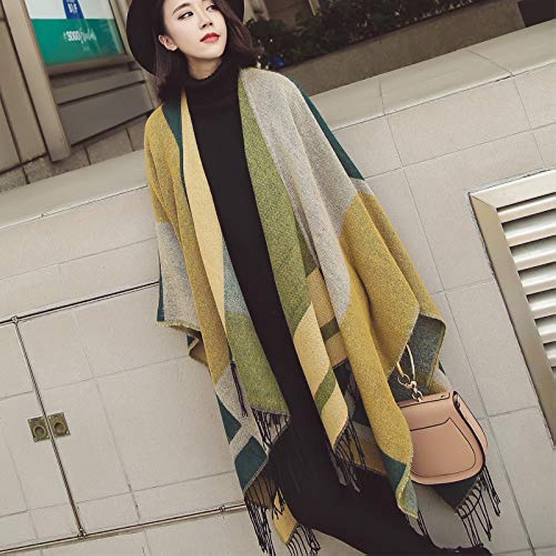 JINGB Home Autumn and Winter Cloak Cloak Hooded Shawl Female Spring and Autumn Coat Dualuse Scarf Outside take (Size   D)