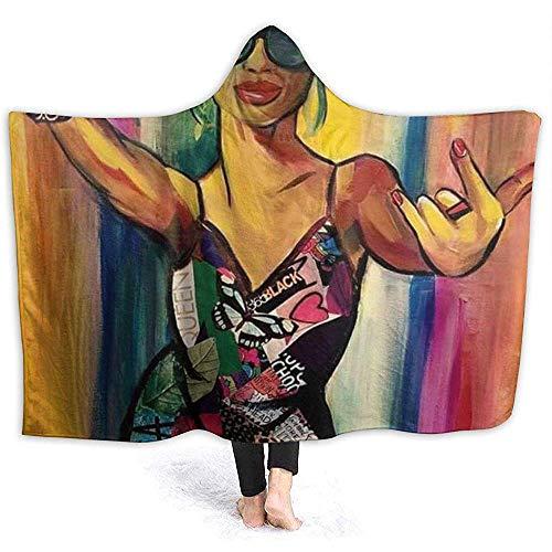 Henry Anthony Schöner afrikanischer Frauen-Ultra weicher Flanellvlies-Wurfs-Decken-Hoodie für Couchsofa und Bett 50x40 Zoll