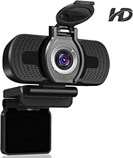 Dericam 1080P Full HD Live Streaming Webcam, USB Desktop y Laptop Webcam, Mini Plug and Play Video Calling Camera, Micrófono Incorporado, Clip Flexible Giratorio