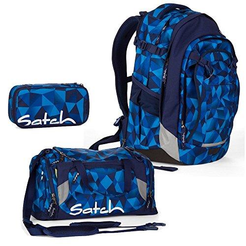 satch Match by Ergobag: 3-teiliges Set Blue Crush Blau Polygon Rucksack, Sporttasche & Schlamperbox inkl. Geodreieck - Der Ganztagsbegleiter: Rucksack wächst mit bis ca. 1,90m Körpergröße