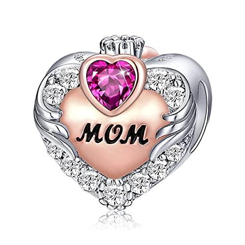 FOREVER QUEEN Abalorio de Plata Encantos de Piedra de Nacimiento de Madre Abalorio de Corazón de Amor Plata de Ley 925 Para Collar de Pulsera Para Regalo de Cumpleaños de Madre (luglio)