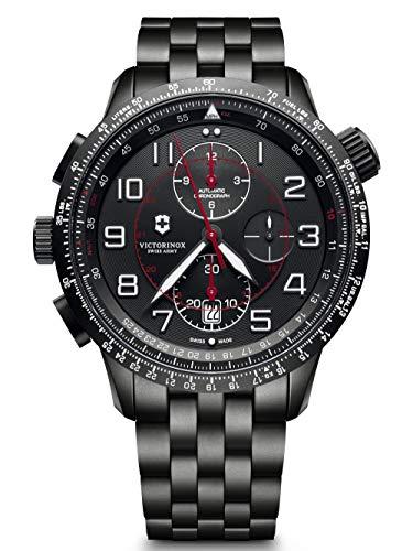 Victorinox Herren Airboss Mach 9 Chronograph Black Edition - Automatikuhr aus Edelstahl und Leder 241742