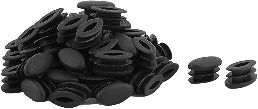 sourcingmap® Piedi tavolo ovale in plastica Design Tubo inserire cappuccio terminale nero 15mm x 30mm 50 pz.