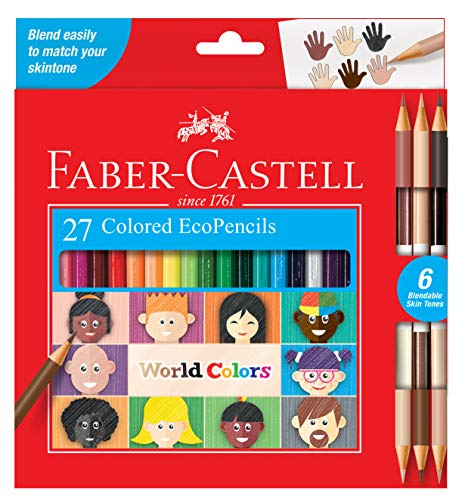 Faber-Castell World Colors Ecopencils, 27 Count - Diverse Skin Tone Colored Pencils For Kids