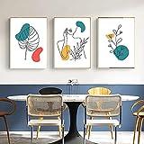 Mujeres silueta hojas abstracto chica retrato ilustración carteles impresiones minimalista nórdico lienzo pintura cuadro decoración sin marco-40x50cmx3