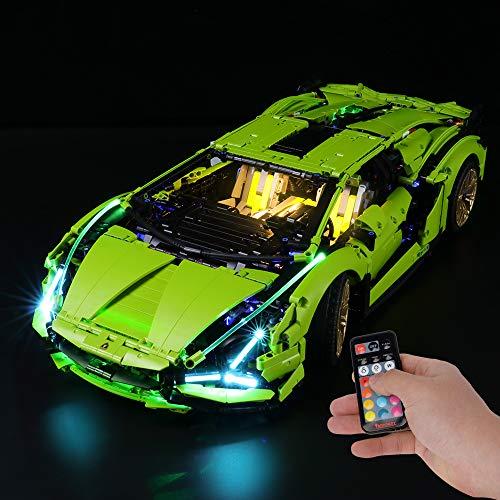 BRIKSMAX Kit di Illuminazione a LED per Lego Lamborghini Sián FKP 37,Compatibile con Il Modello Lego 42115 Mattoncini da Costruzioni - Non Include Il Set Lego. (Versione Telecomando)