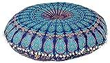 Funda de cojín redonda hecha a mano de 81 cm con diseño de mandala india para decoración del hogar, diseño de puf bohemio, 100% algodón, multicolor, Design 1