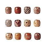 Bottoni in tinta naturale con perline di legno 16x17mm Mixed Color Printed#1