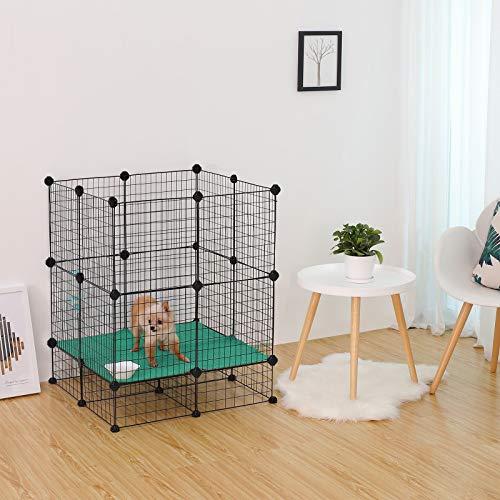 SONGMICS 20 + 12 Metallgitter Haustier-Laufstall mit Bodenplatten, Freigehege, individuell erweiterbarer DIY-Tierlaufgitter, für Welpen, Kaninchen, Meerschweinchen, inkl. Gummihammer, für Inneneinsatz, LPI03H - 3