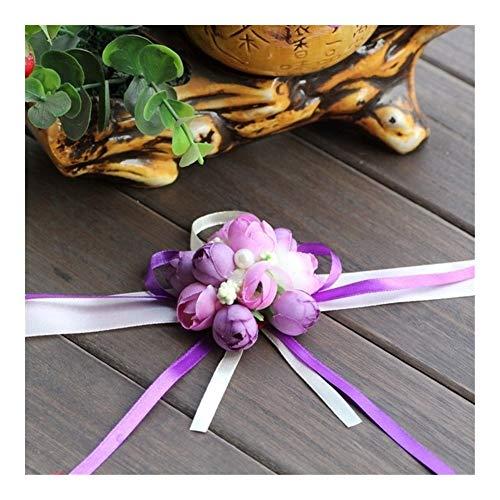 Realista 20pcs la novia de dama de honor niña de la mano floral Ramillete de muñeca ajustable ceremonia pulseras Rose cinta del partido del baile de la decoración de la flor Hermosa ( Color : Purple )
