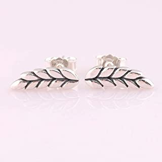 Original 925 Sterling Silver Earring Curved Grains Ear of Wheat Studs Earring for Women Wedding Gift Europe Jewelry - (Metal Color: Rose Gold Color)