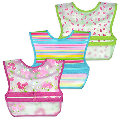 green sprouts Snap & Go Wipe-off Bibs (3 pk)   Waterproof protection for messy eaters   Neatly rolls up for mess and utensil storage, Flipped pocket stays extended to catch spills, Easy clean