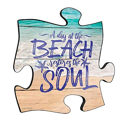 """Trend Setters A Day at The Beach Quote – Beach Vacation Home Decor – 12"""" x 12"""" Wooden Puzzle Piece Wall Art Plaque – Hang Alone or Connect to Other Pieces Ltd."""