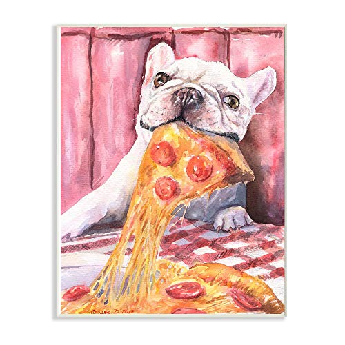 Stupell Industries French Bulldog and Pizza Funny Dog Pet Animal Watercolor Painting Wall Plaque, 10 x 15, Multi-Color