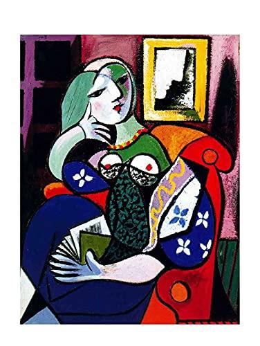 Pablo Picasso Donna con libro Immagine Soggiorno Quadri Soggiorno Decorazione Murale Immagini Su Tela Stampe Da Parete Quadri Moderni Camera Da Letto (25x35cm10x14pollici, senza cornice)
