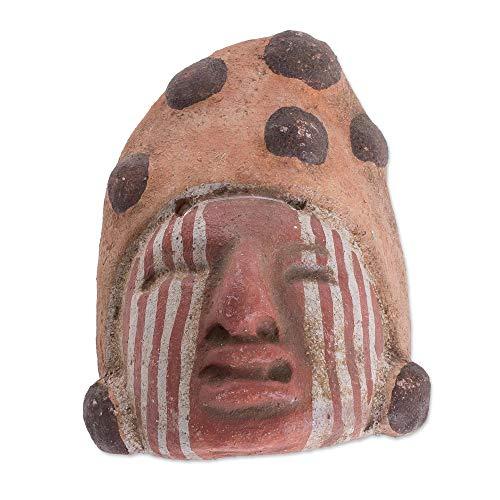 NOVICA Brown Ceramic Archaeological Decorative Mask from Guatemala 'Mayan Sacrifice'