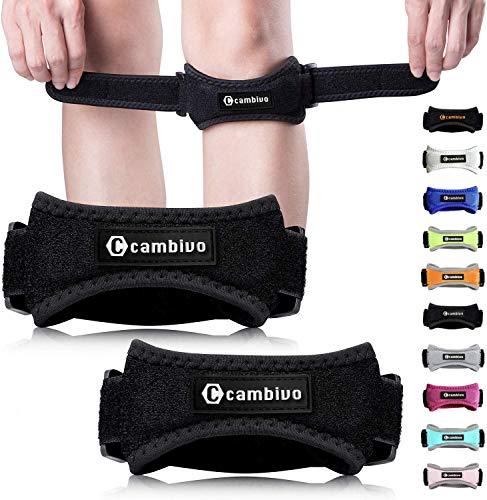 CAMBIVO 2 x Patella Kniebandage, Knieband, verstellbare Patella Band für Damen und Herren beim Sport, Wandern, Fitness, Baseball (Schwarz)