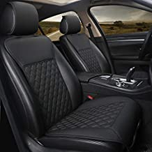 Black Panther 1 Pair Car Seat Covers, Luxury Car Protectors, Universal Anti-Slip Driver Seat Cover with Backrest,Diamond Pattern (Black)