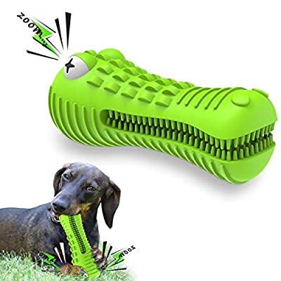 Sixmill Dog Toys Dog Toothbrush Indestructible Squeaky Dog Chew Toys For Medium Large Breed Aggressive Chewers Crocodile Alligator Dental Teeth Cleaning Toy Xmas for 13kg-36kg Dogs