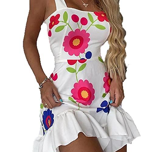 Vestito irregolare sexy allentato del fiore dell'imbracatura della stampa, vestito irregolare casuale di festa della stampa dell'imbracatura, bianco