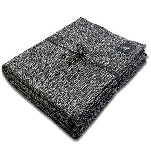 Craft Story Decke Yara I Uni grau aus 100% Baumwolle I Tagesdecke I Sofa-Decke I Überwurf I Bedspread I Plaid I Picknickdecke I Läufer I Nutz- & Schutzdecke I ca.170 x 220cm